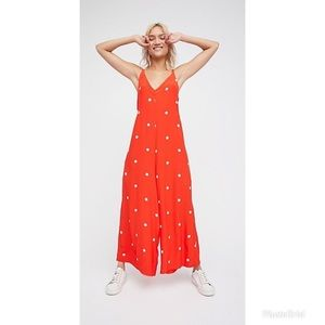 🔥 Free People Red Polka Dot Dream Big Jumpsuit